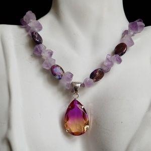 Genuine Amethyst Dyed Imperial Jasper Necklace NWT